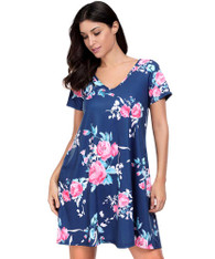 Blue pink V neck floral print short sleeve mini dress 01