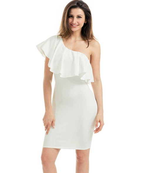 White one shoulder ruffle bodycon mini dress 01