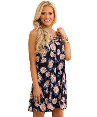 Navy crisscross neck floral print cami mini dress 01