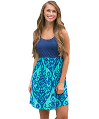 Blue pattern print high waist no sleeve mini dress 01