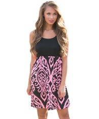 Pink pattern print high waist no sleeve mini dress 01