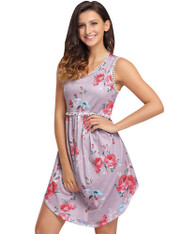 Pink floral pattern lace trim high waist mini boho dress 01