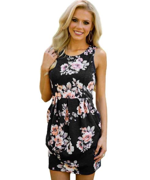 Black floral print no sleeve high waist mini dress 01