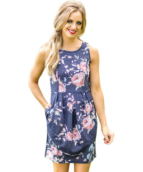 Blue floral print no sleeve high waist mini dress 01