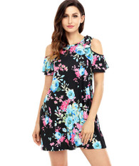 Black floral print shoulder cut out mini dress 01