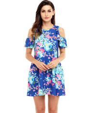 Blue floral print shoulder cut out mini dress 01