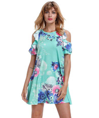 Green floral print shoulder cut out mini dress 01