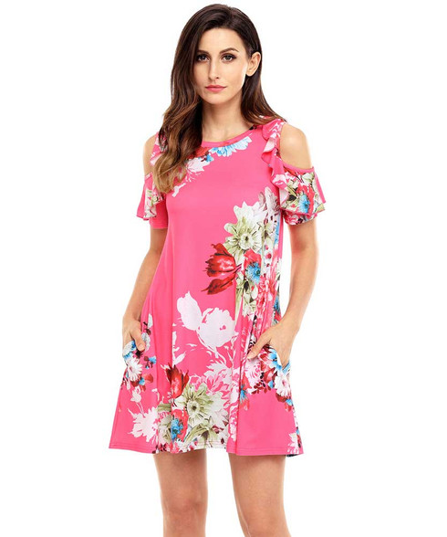 Rose red floral print shoulder cut out mini dress 01