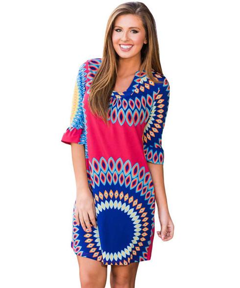 Red blue mix sunshine pattern mini dress 01