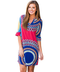 Red blue mix sunshine pattern mini dress 01