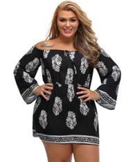 Black off the shoulder floral print plus size mini dress 01