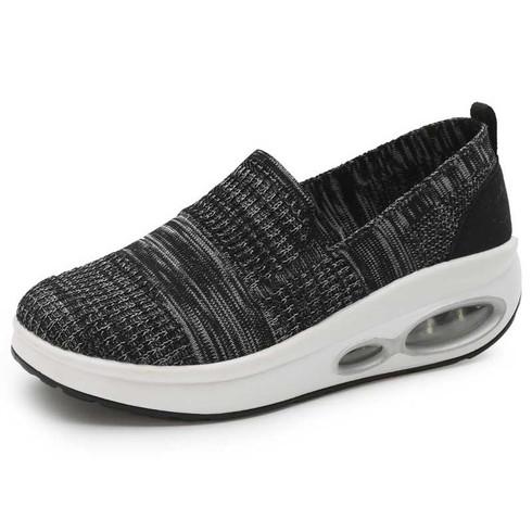 Black flyknit stripe slip on rocker bottom shoe sneaker 01