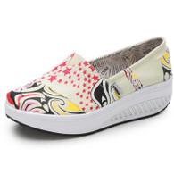 Beige mixed star slip on rocker bottom shoe sneaker 01