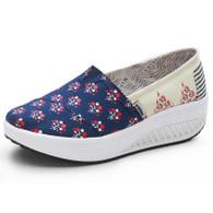 Navy floral print slip on rocker bottom shoe sneaker 01
