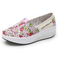 Pink animal print slip on rocker bottom shoe sneaker 01