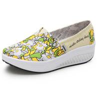 Green animal print slip on rocker bottom shoe sneaker 01