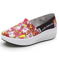 Red animal print slip on rocker bottom shoe sneaker 01