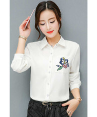 White floral embroidered long sleeve shirt 01