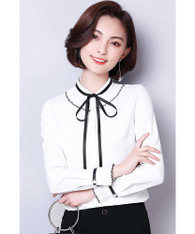 White contrast black long sleeve shirt with lace tie 01