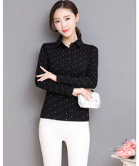 Black cross pattern long sleeve button shirt 01