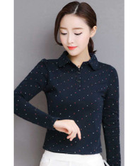 Navy cross pattern long sleeve button shirt 01