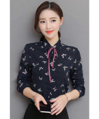 Navy butterfly polka dot pattern long sleeve shirt 01