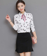 White butterfly polka dot pattern long sleeve shirt 01