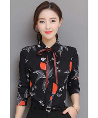 Black floral pattern long sleeve shirt with neck tie 01