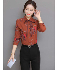 Red brown floral pattern long sleeve shirt with neck tie 01