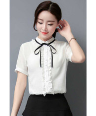 White ruffle style short sleeve shirt with neck tie 01
