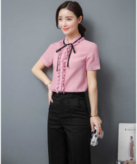 Pink ruffle style short sleeve shirt with neck tie 01