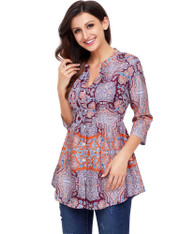 Orange floral pattern V neck button front blouse 01
