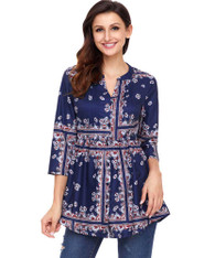Navy floral pattern V neck button front blouse 01