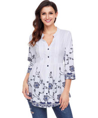 White floral pattern V neck button front blouse 01