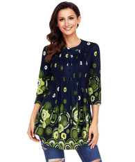 Green floral pattern pleated button front blouse 01
