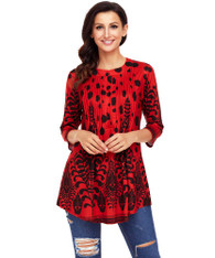 Red floral pattern pleated button front blouse 01