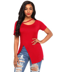 Red side split short sleeve blouse in plain design 01