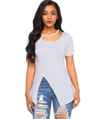 White side split short sleeve blouse in plain design 01