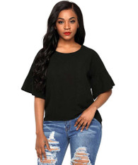 Black short bell sleeve blouse in plain design 01