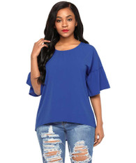 Blue short bell sleeve blouse in plain design 01