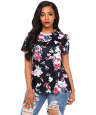 Black floral print shoulder cut out short sleeve blouse 01