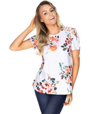 White floral print shoulder cut out short sleeve blouse 01
