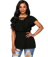 Black V neck cross strap ruffle overlay blouse 01