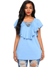 Blue V neck cross strap ruffle overlay blouse 01