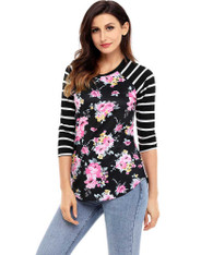 Black floral stripe print long sleeve t-shirt 01