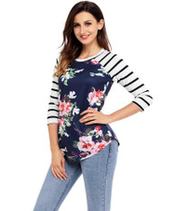 Navy floral stripe print long sleeve t-shirt 01