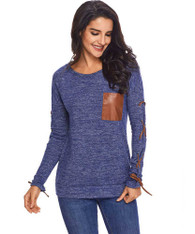 Blue cross strap on sleeve pull over t-shirt 01
