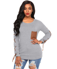 Grey cross strap on sleeve pull over t-shirt 01