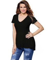 Black high low ruffle short sleeve t-shirt 01