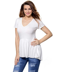 White high low ruffle short sleeve t-shirt 01